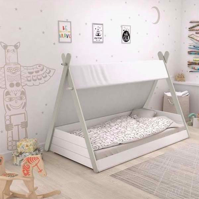 White KIds Solid Wood Tipi Tent Bed