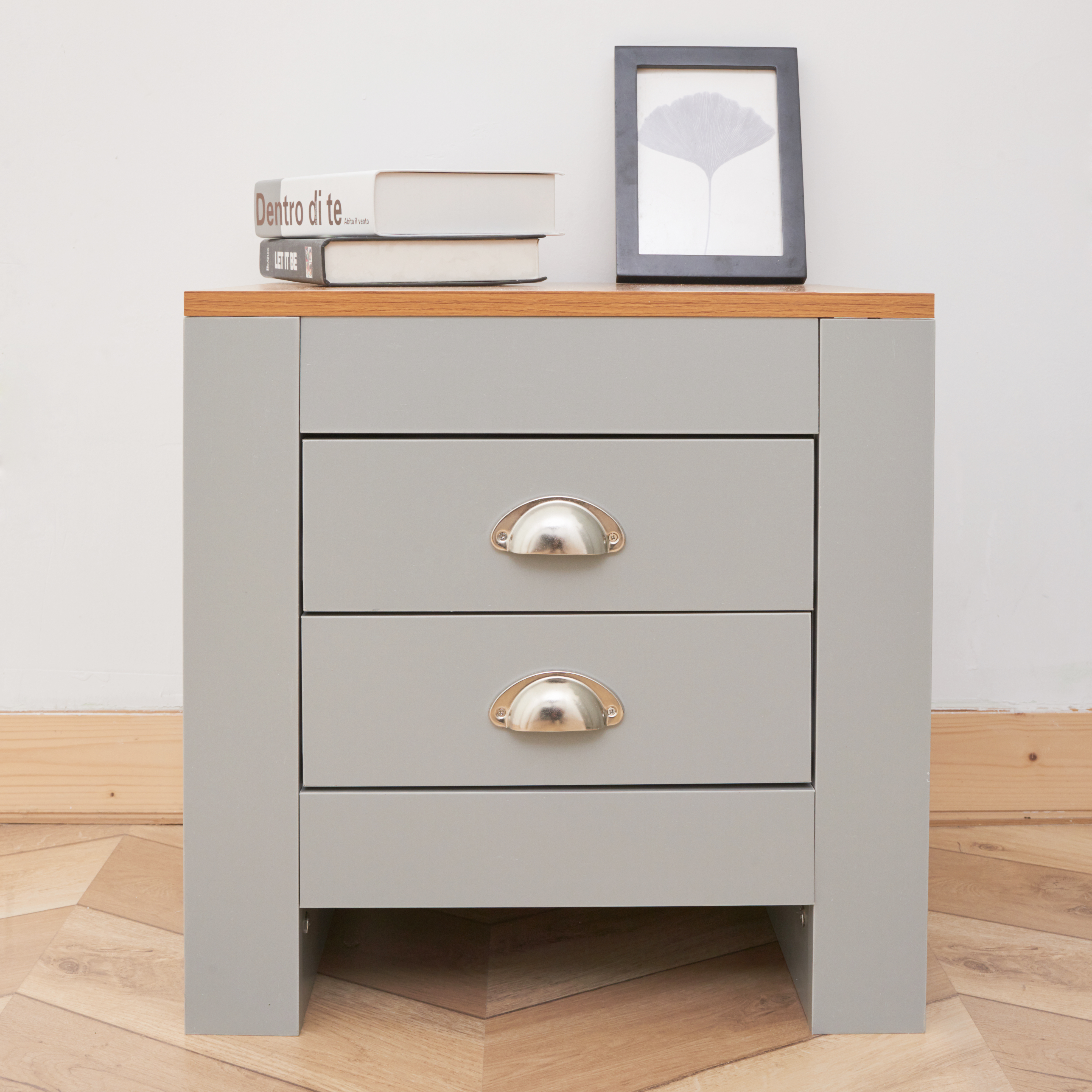 Grey 3 PC MDF Wooden Storage Cabinet Set