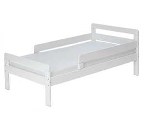 White Toddler Bed with Guard Rail in Wood