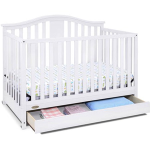 Convertible White Wood Baby Crib with Drawer