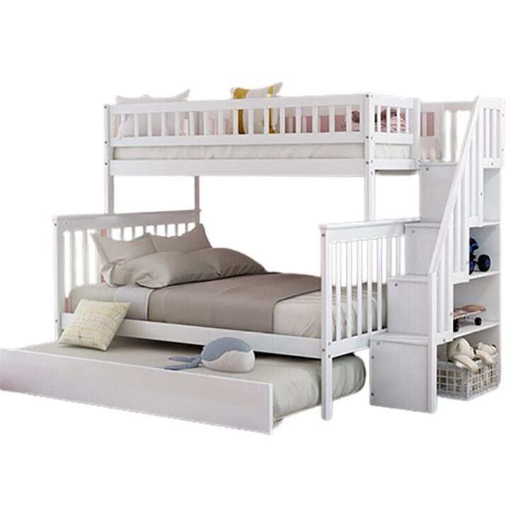 Solid Wood Bunk Bed with Trundle and Storage Ladder