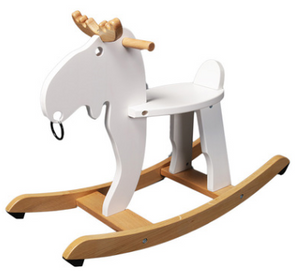 White Solid Wood Rocking Deer Toy