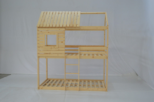 Wood House Bunk Bed for Kid