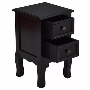 Classic Black Solid Wood Night Table for Bed