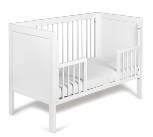 White Wooden Baby Crib with Drop Side