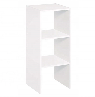 White MDF Wood 3 Cubes Organizer Shelf