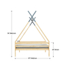 Children Solid Wood Tepee Play Bed with Trundle