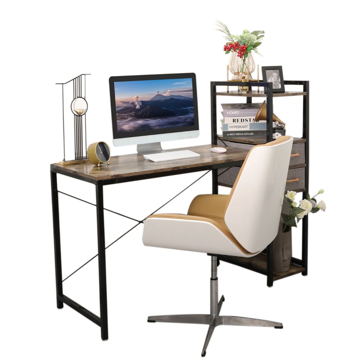 Home Office Computer Desk with Storage Shelf
